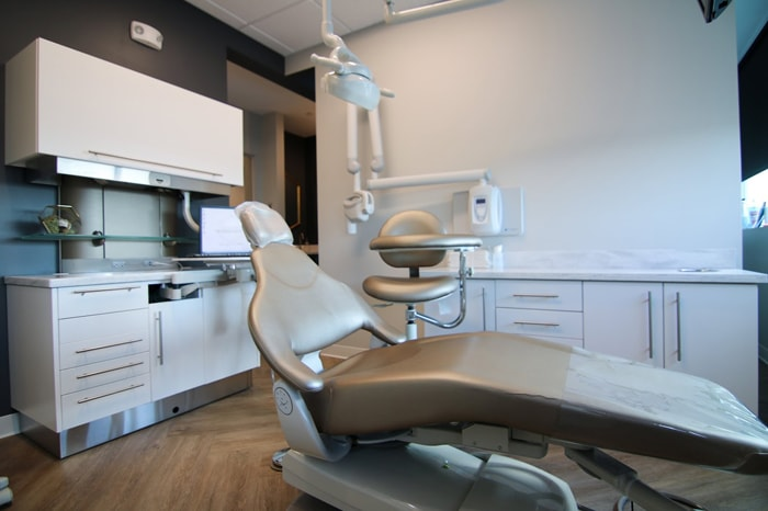 Dental chair inside Olentangy Modern Dental office