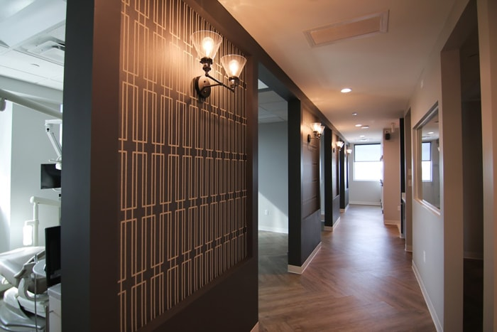 Hallway to treatment bays at Olentangy Modern Dental