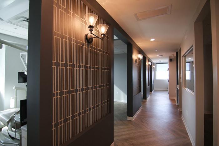 Hallway to treatment bays at Olentangy Modern Dental